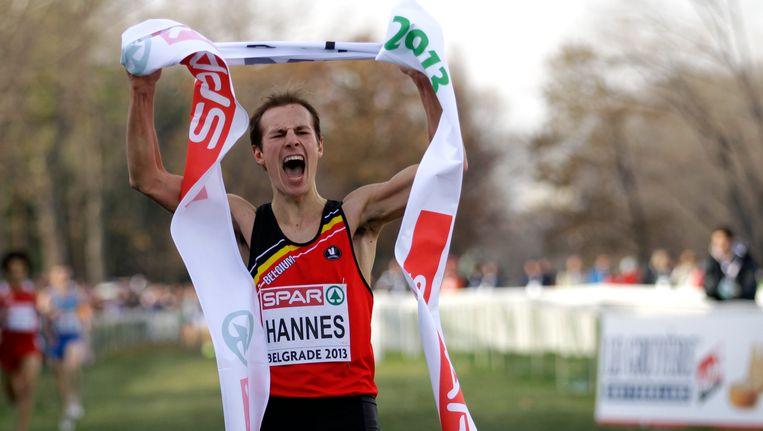 Pieter-Jan Hannes finishte solo en vierde zijn titel uitbundig.