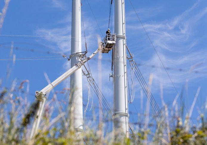 Werk aan de nieuwe wintrackmasten bij Rilland, onderdeel van de hoogspanningslijn.