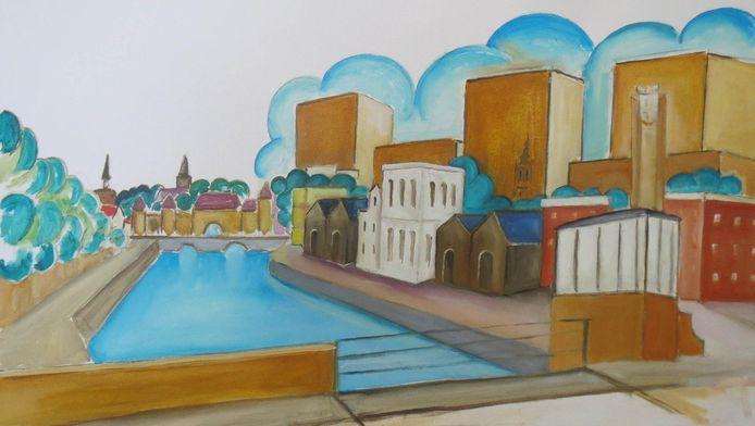 De ontwikkelingen langs de Eem in Amersfoort inspireerden schilder Floris Schrijver tot een tweeluik; dit schilderij verbeeldt een dreigende toekomst.