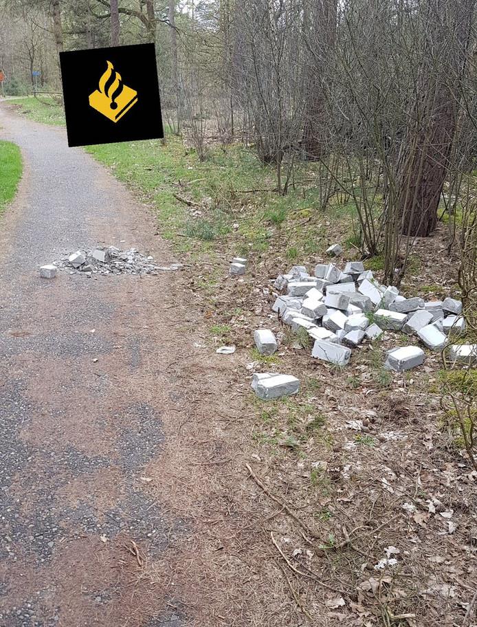 De Ossenaren dumpten het puin in het bos in Leende.