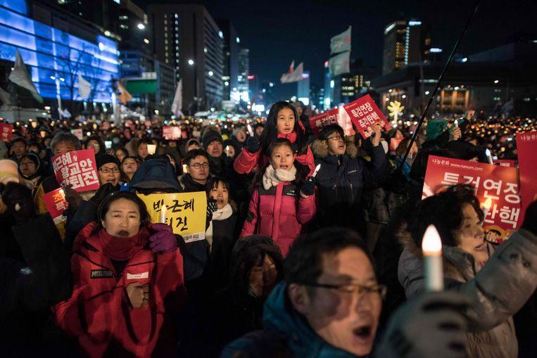 Anti-regeringsdemonstranten in Seoul. Beeld afp