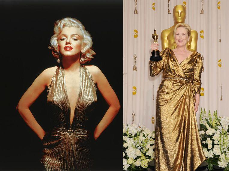 Marilyn Monroe in glimmend goud en Meryl Streep bij de 84th Annual Academy Awards, Hollywood 2012. Beeld Beeld Frank Povolny/Twentieth Century Fox/Sunset Boulevard/Corbis via Getty Images en Jeffrey Mayer/WireImage