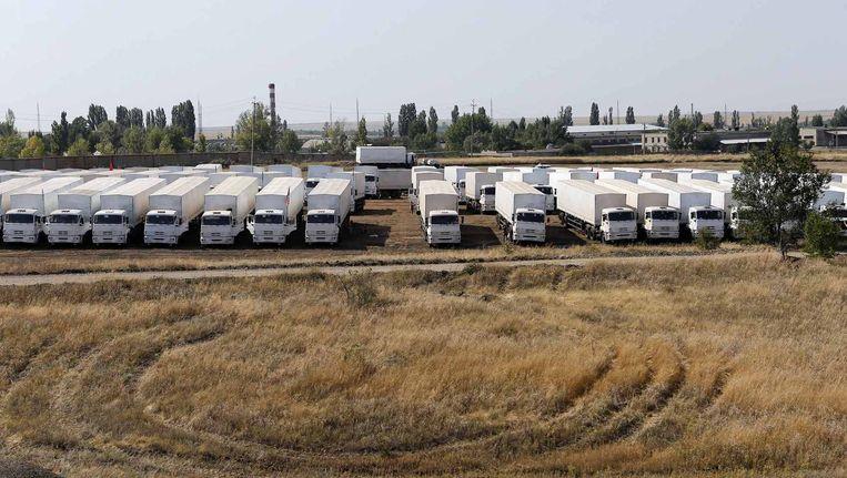 De Russische vrachtwagens vlak bij de Russische grens Beeld reuters