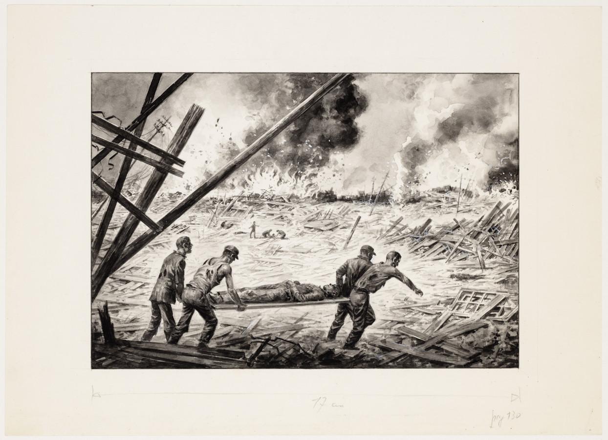 Charles Burki maakte de tekening 'Dit was Nagasaki'.