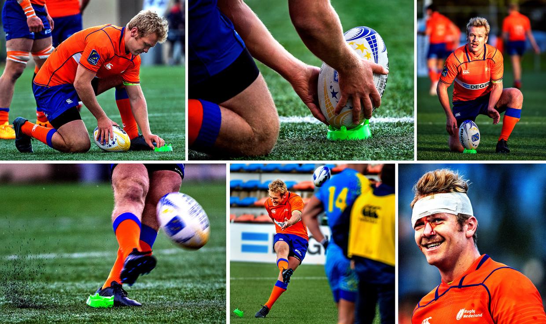 David Weersma, de kicker van het Nederlands rugby team.   Beeld Klaas Jan van der Weij