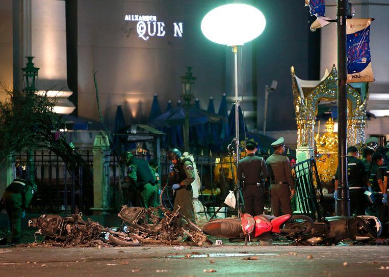 Chaos in Bangkok na de explosie.