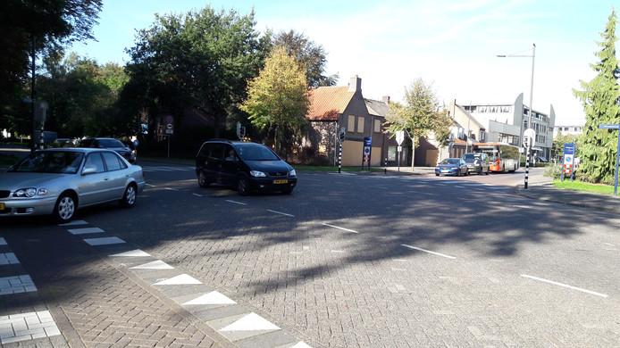 De hoek Keiweg-Ridderstraat in Oosterhout.