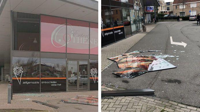 Links: De ruit linksboven waaide uit het gebouw. Rechts: de ruit kapot op straat.