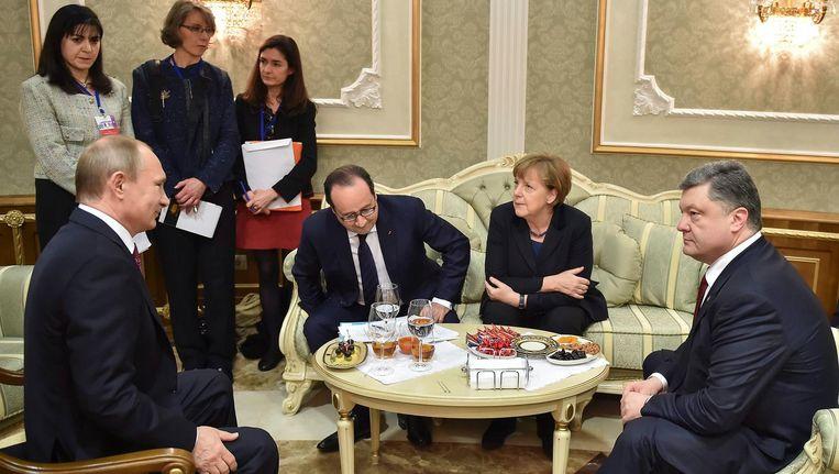 De Normandische Vier in Minsk, februari 2015. Beeld epa