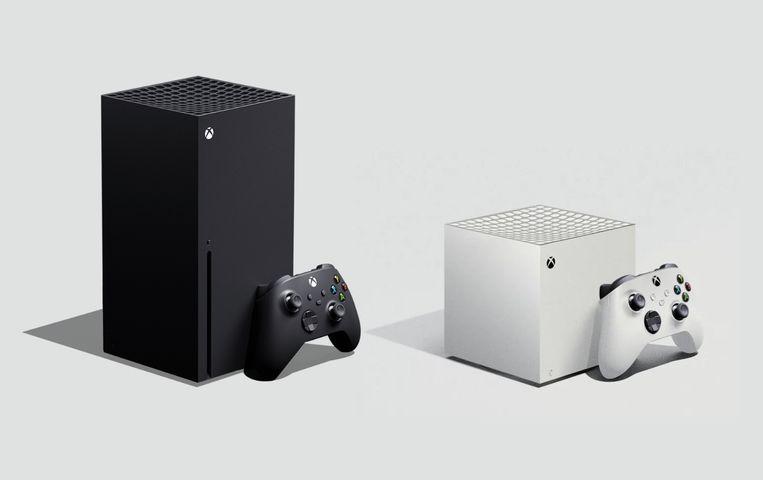 De nieuwe Xbox Series X (links) en zijn kleinere broer, de Series S, zonder disc-speler, Beeld Microsoft