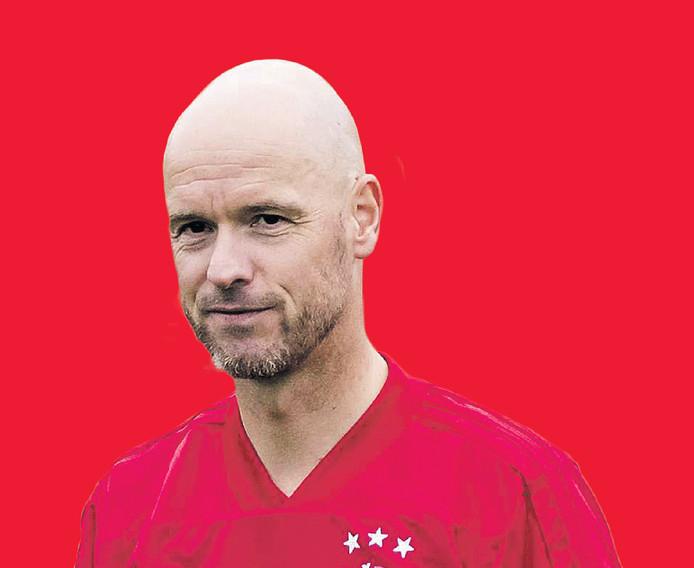 Erik ten Hag  zaterdsag op De Toekomst, tijdens de eerste training van Ajax voor het nieuwe voetbalseizoen.