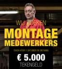 Een poster van Hutten Metaal Staalbouw, die binnenkort in de bushokjes komt te hangen. Het Hardenbergs bedrijf zoekt nieuw personeel. En wie er komt werken kan direct 5000 euro op de rekening bijschrijven.
