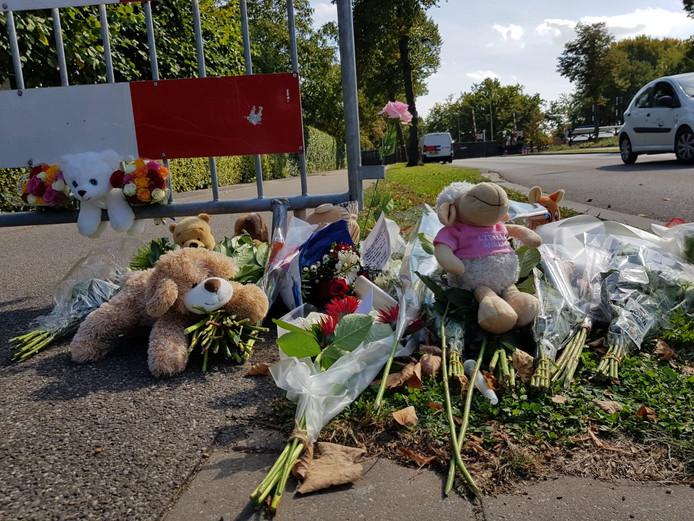 Knuffels en bloemen vlakbij de plaats van het ongeluk in Oss.