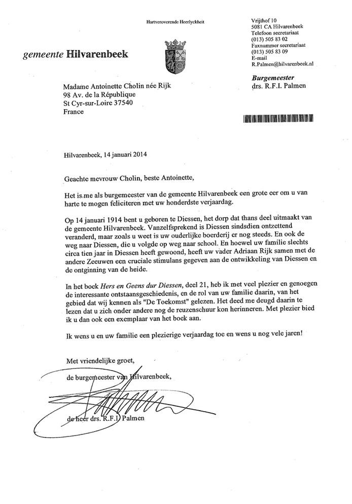 De brief - in het Nederlands - van burgemeester Ryan Palmen aan de 100-jarige Antoinette Rijk
