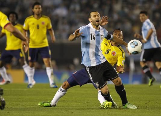 Javier Mascherano als international van Argentinië, zaterdag tegen Colombia.