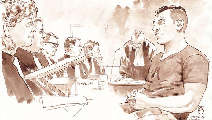Rechtbanktekening van de regiezitting van verdachte Armin A.