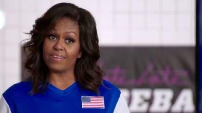 VIDEO. Michelle Obama speelt trefbal met Harry Styles, Kate Hudson, Mila Kunis en véle andere sterren