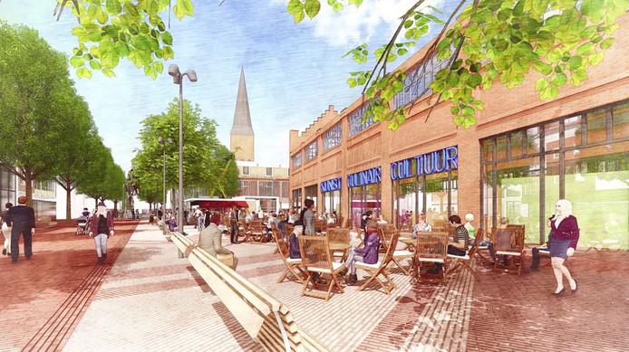 Het marktplein met een ontwerp van het Hijschgebouw. Zo zou het kunnen worden.