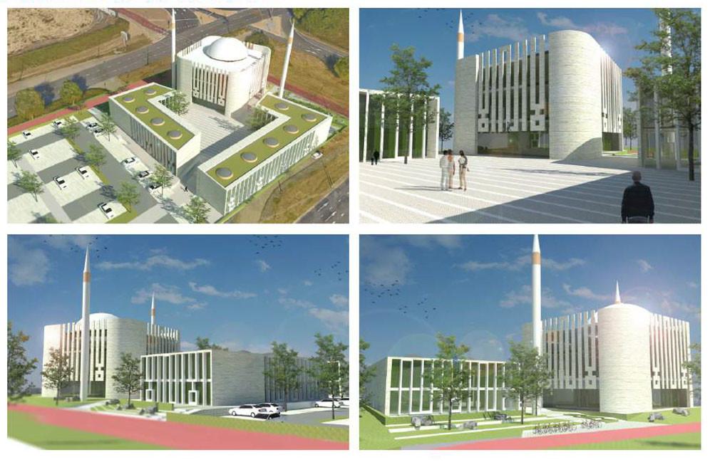 Het ontwerp van de moskee bij station De Goffert.
