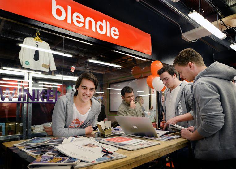 Mede-oprichter van Blendle Alexander Klöpping tijdens de opening van een pop-upstore in winkelcentrum Hoog Catherijne, december 2014. Beeld ANP