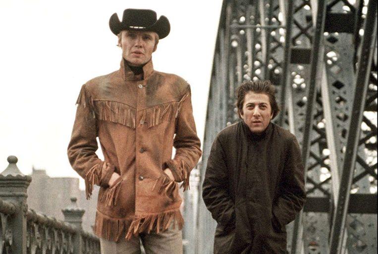 Jon Voight (links) en Dustin Hoffman in Midnight Cowboy. Beeld