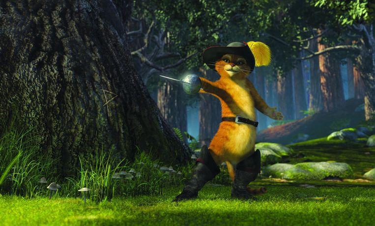 De gelaarse kat, met de stem van Antonio Banderas, in Shrek 2 van Andrew Adamson, Kelly Asbury en Conrad Vernon (2004). Beeld