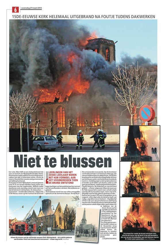 De krantenpagina na de brand in 2013.