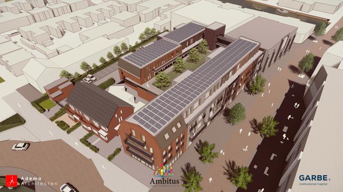 Artist impression van de plannen in voormalige V&D-gebouw in Alphen.