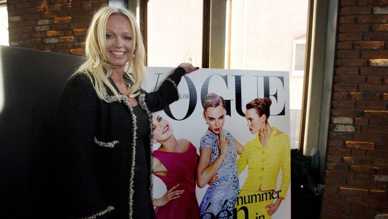 Hoofdredacteur Karin Swerink onthult de Nederlandse Vogue tijdens een exclusief Vogue-ontbijt. Beeld ANP