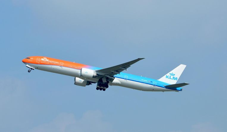 Het speciale oranje vliegtuig van de KLM. Beeld ANP