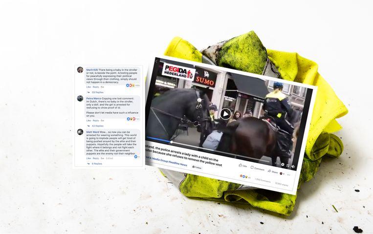 Deze Nederlandse vrouw werd niet gearresteerd om haar gele vestje, maar omdat ze weigerde zich te legitimeren Beeld