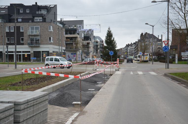 De nieuwe betonstrook die werd aangelegd op de Centrumlaan voor de renners van de Omloop.