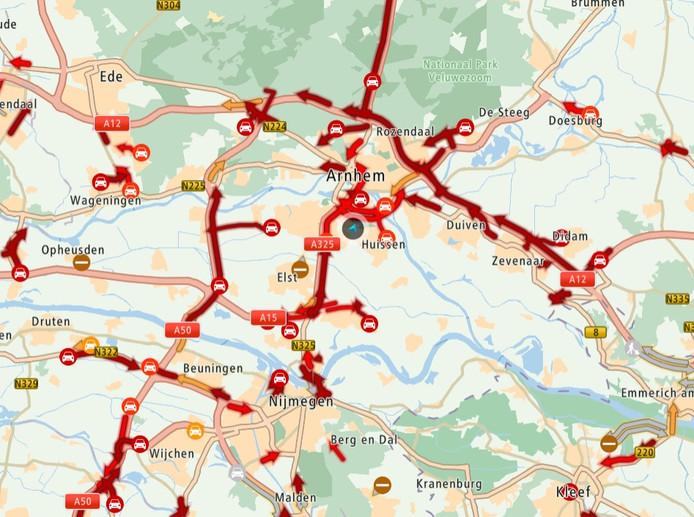 De situatie op de Gelderse wegen, even voor acht uur uur vanochtend.