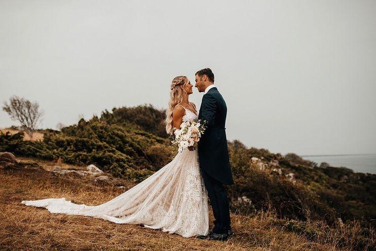 Louis Talpe op zijn huwelijksdag in Zweden met Tiffany Ling-Vannerus.