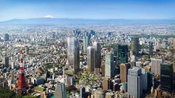 Zicht op onder meer de drie wolkenkrabbers van Toranomon-Azabudai (midden).