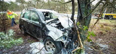 Auto botst tegen boom en vliegt in brand op A28 bij 't Harde