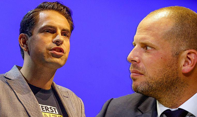 Vlaams Belang-voorzitter Tom Van Grieken en staatssecretaris voor Asiel en Migratie Theo Francken. Van Grieken verweet de staatssecretaris twee gezichten te hebben.