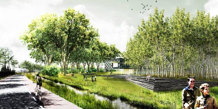 Een impressie van hoe het nieuwe scoutinggebouw in Oisterwijk eruit moet gaan zien. Links de Sportlaan.