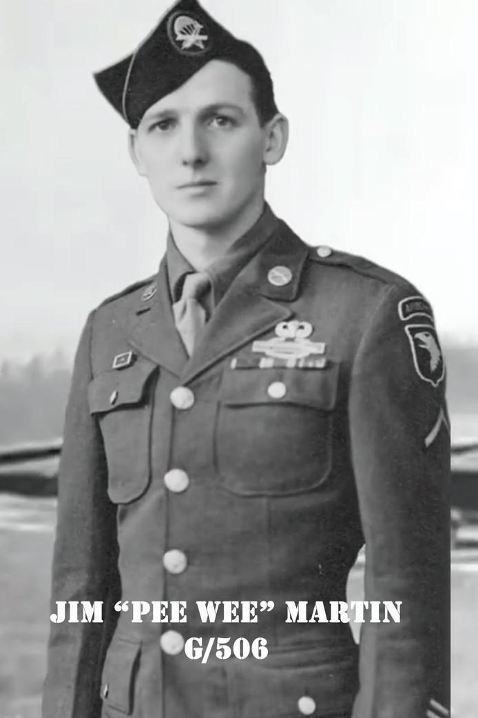 Jim 'Pee Wee' Martin, hier als jonge soldaat, springt op 17 september op 98-jarige leeftijd uit het vliegtuig boven Eerde.