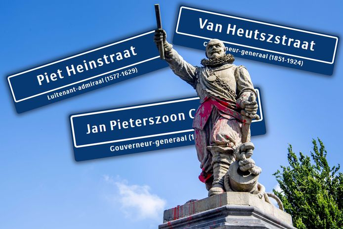 In Alphen zijn meerdere straten vernoemd naar 'zeehelden', zoals Piet Hein, Jo van Heutsz en Jan Pieterszoon Coen. Het (besmeurde) standbeeld op de voorgrond is van Piet Hein in Rotterdam.