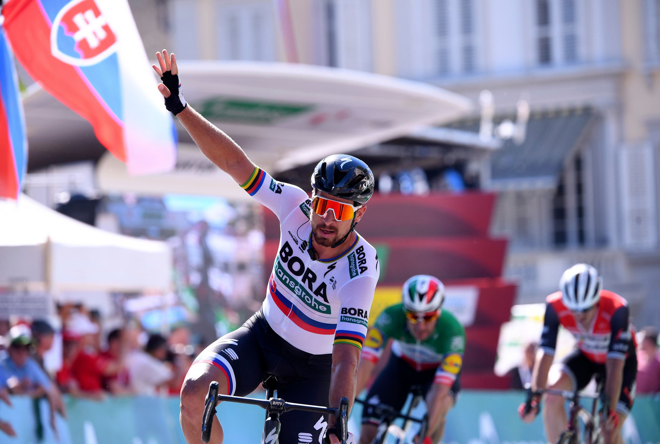 Peter Sagan is de snelste in de sprint.