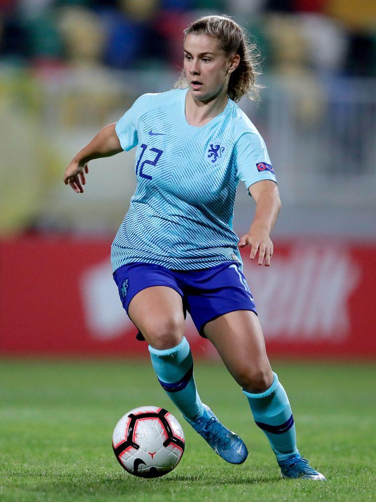 De 20-jarige Ajaxspeelster Victoria Pelova mocht vrijdag tegen Turkije weer invallen. Beeld BSR Agency