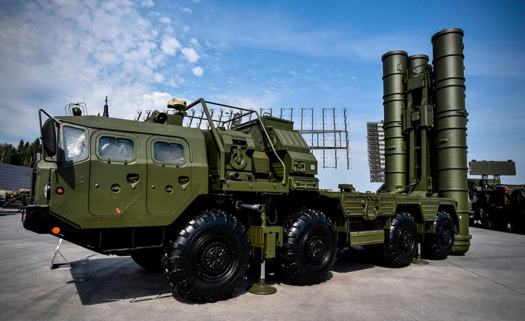 Archieffoto: een raketafweersysteem S-400 dat tentoongesteld wordt in Moskou.