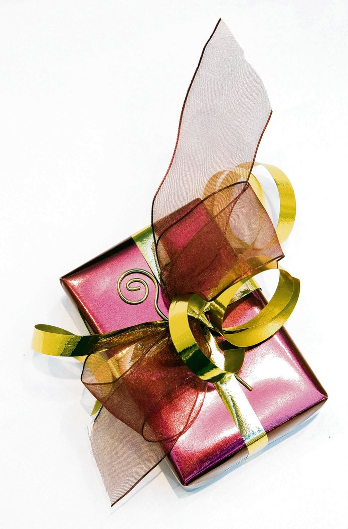 Mooi ingepakt cadeautje.