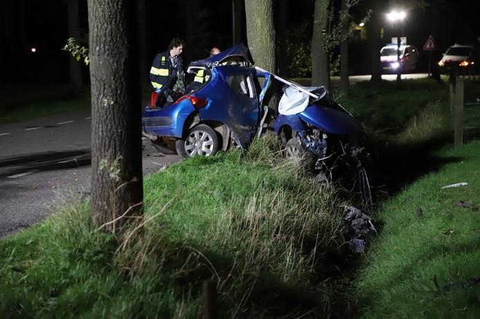 De 27-jarige bestuurder knalde door een nog onbekende oorzaak met zijn voertuig tegen een boom.