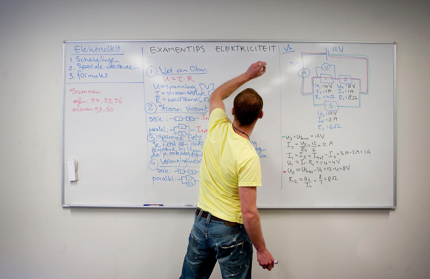 Een docent maakt aantekeningen op het bord. Hij mag niet zonder zijn toestemming herkenbaar in beeld worden gebracht, zeggen ministers Van Engelshoven en Slob. Deze foto is overigens genomen met toestemming van de docent in kwestie