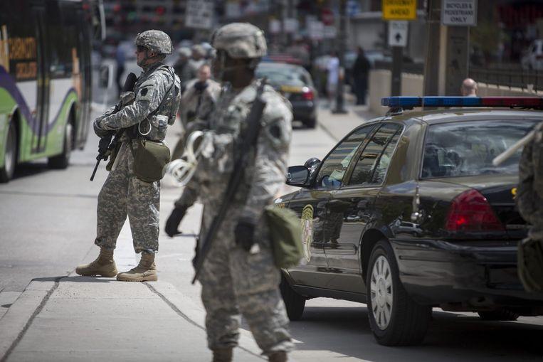 De Nationale Garde is te hulp geroepen om de situatie in Baltimore rustig te houden. Beeld epa