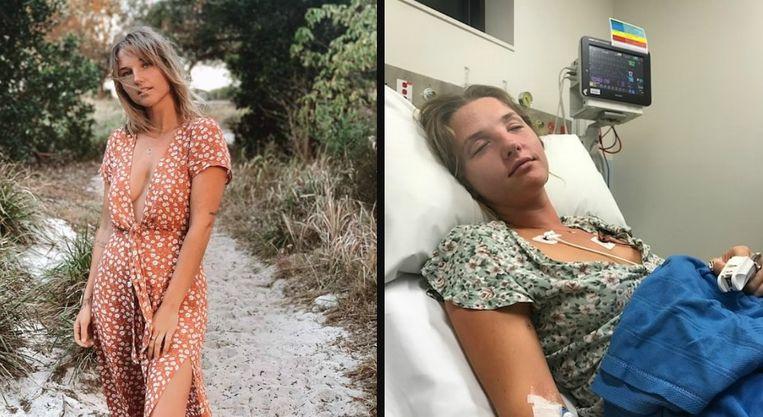 Jaycey Ravelle. Rechts ziet u haar in het ziekenhuis.