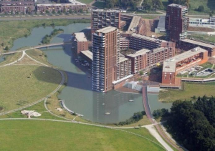 Impressie van het centrum van Meerhoven, met in het midden de woontoren B7 die nu in aanbouw is en rechts de brug die komende maand wordt aangelegd. In deze impressie is het gebouw C3, dat vlakbij de brug komt, nog niet opgenomen.