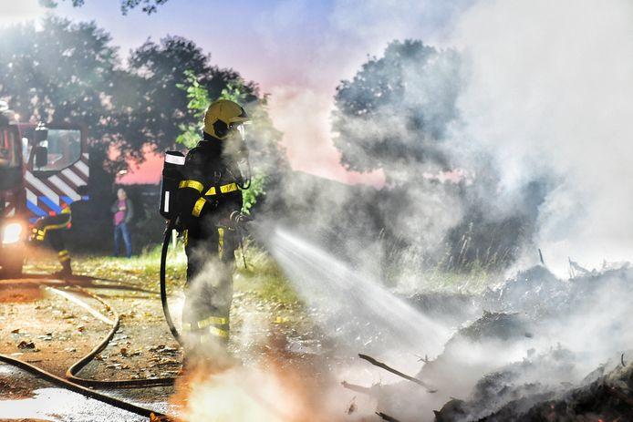 Brand bij de N65 bij Berkel-Enschot.
